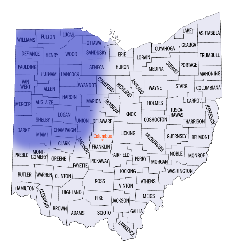 Celina, St Marys, Burkettsville, Chickasaw, Coldwater, Fort Recovery, Mendon, Montezuma, Rockford, St. Henry, Van Wert, Convoy, Elgin, Middle Point, Ohio City, Scott, Venedocia, Willshire, Wren,
